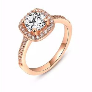 Rose Gold Fashion Halo Cubic Zirconia CZ ring